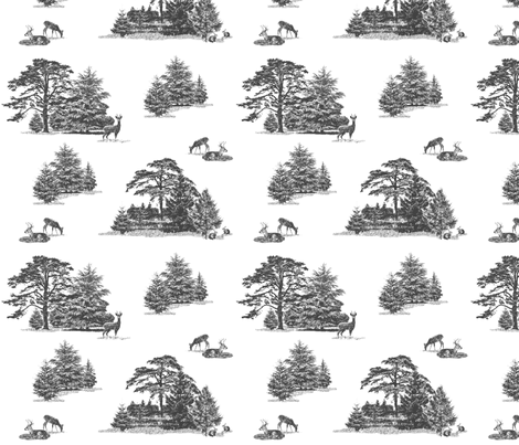 Evergreens with animals in greys fabric by fantazya on Spoonflower - custom fabric