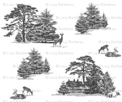 Evergreens with animals in greys