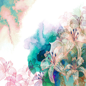 Watercolor Lillies in Turquoise and Pink