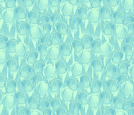 blue mint tulips fabric by glimmericks on Spoonflower - custom fabric
