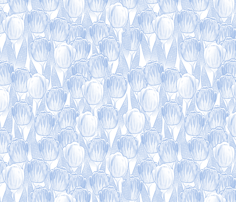 blue tulips fabric by glimmericks on Spoonflower - custom fabric