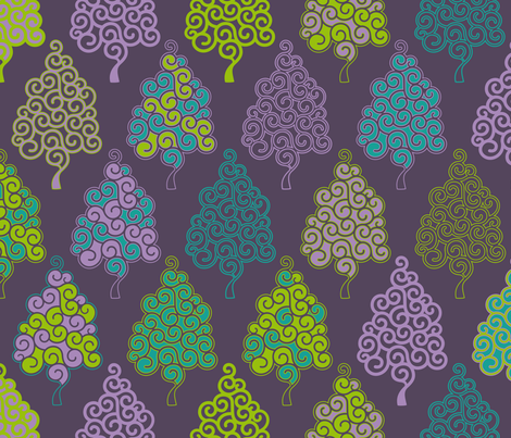 Evergreen, everblue, everpurple… fabric by cassiopee on Spoonflower - custom fabric