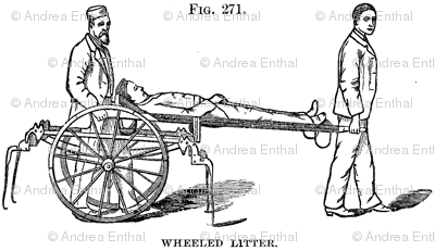 Wheeled Litter 1870's Medical Illustration
