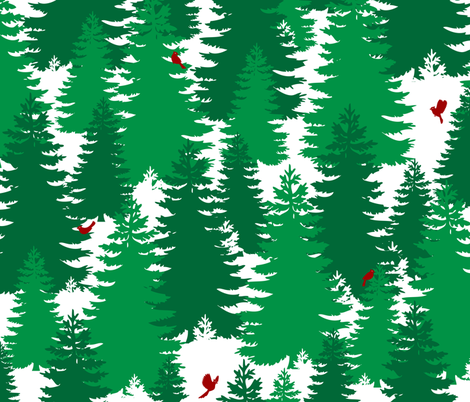 Evergreens and Cardinals fabric by pyralisdesign on Spoonflower - custom fabric