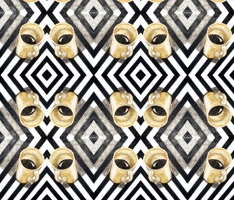 Coffee on Black & White fabric by pond_ripple on Spoonflower - custom fabric