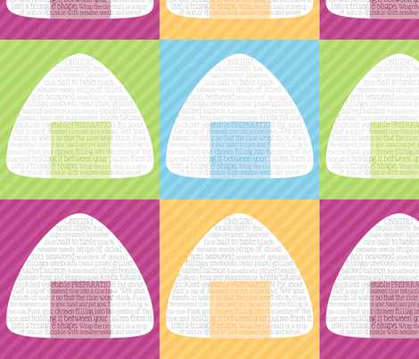 onigiri recipe fabric by onegreyelephant on Spoonflower - custom fabric