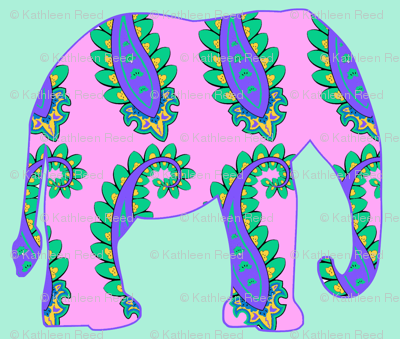 Pink Paisley elephant