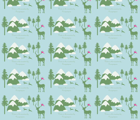 winter in the mountain by Rosapomposa fabric by rosapomposa on Spoonflower - custom fabric