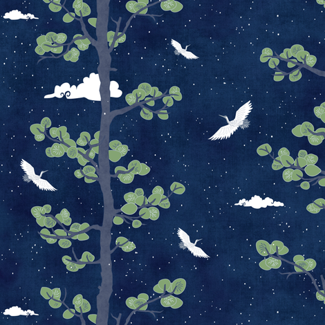 Pines & Cranes - Night (small scale) fabric by forest&sea on Spoonflower - custom fabric