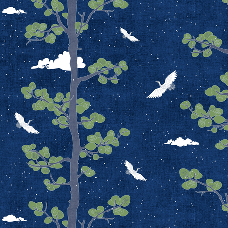 Night Sky with Pines & Cranes (small scale) fabric by forest&sea on Spoonflower - custom fabric