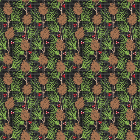 Whispy Pines - Black fabric by dianne_annelli on Spoonflower - custom fabric