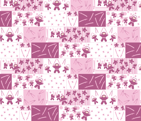 Super Pink Ninja Warriors! (Block) fabric by robyriker on Spoonflower - custom fabric