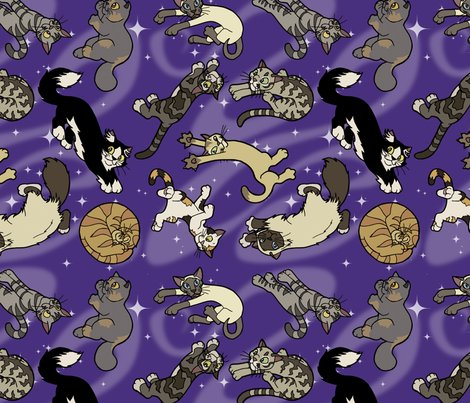 Floaty cats in space ii fabric felis astrum spoonflower for Space cat fabric
