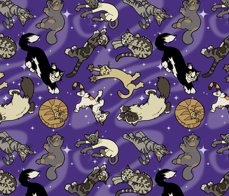 Floaty Cats in Space II fabric by felis_astrum on Spoonflower - custom fabric