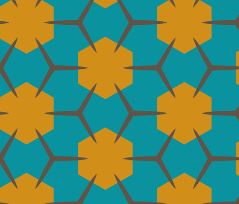 Yukibishi (Teal & Mustard) fabric by nekineko on Spoonflower - custom fabric