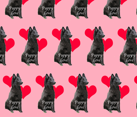 Puppy Love Belgian Sheepdog fabric by dogdaze_ on Spoonflower - custom fabric