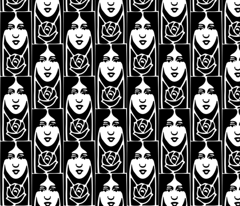 Face & Flower fabric by mbsmith on Spoonflower - custom fabric