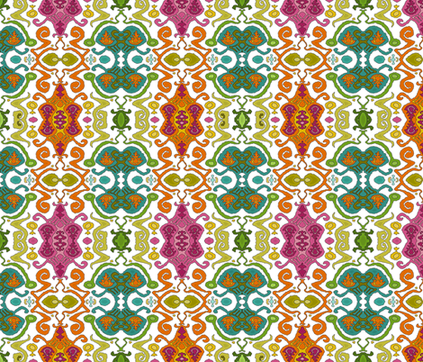 fantastical ikat white fabric by scrummy on Spoonflower - custom fabric