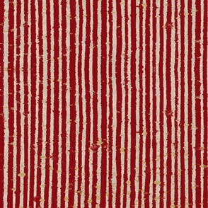 Distressed Bookpaper Stripe in Red