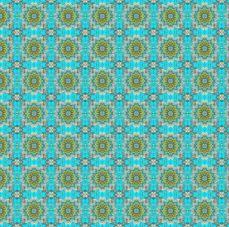 Retro Fifties Flower Field (teal/olive) fabric by edsel2084 on Spoonflower - custom fabric