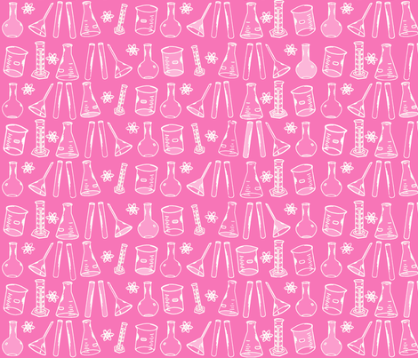 Chemistry Lab Pink White fabric by nocodazole on Spoonflower - custom fabric