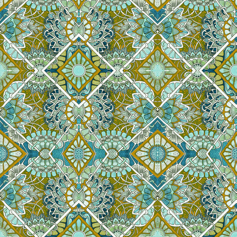 Flowers Everywhere (teal gold) fabric by edsel2084 on Spoonflower - custom fabric