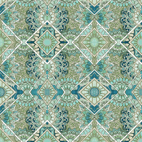 Flowers Everywhere (teal blues) fabric by edsel2084 on Spoonflower - custom fabric