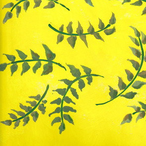 falling leaves on yellow field