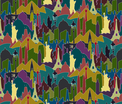 metromash cityscapes of the world fabric by scrummy on Spoonflower - custom fabric