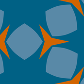 Edonohana (Blue Teal and Burnt Orange)