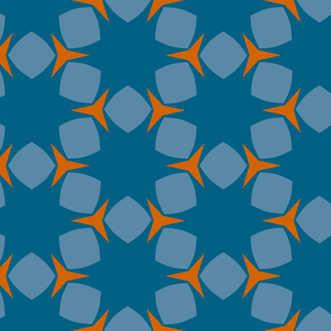 Edonohana (Blue Teal and Burnt Orange) fabric by nekineko on Spoonflower - custom fabric