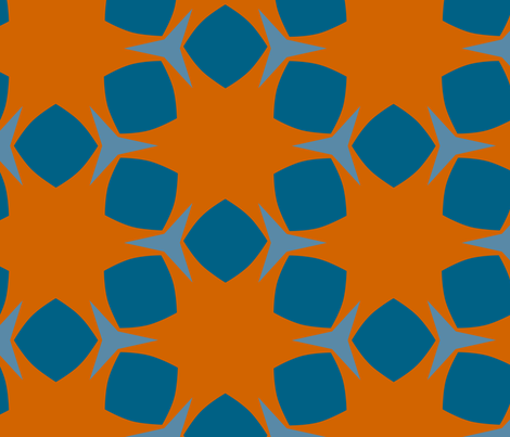 Edonohana (Burnt Orange and Blue Teal) fabric by nekineko on Spoonflower - custom fabric