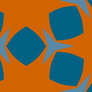 Edonohana (Burnt Orange and Blue Teal)