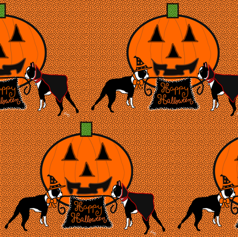 Happy Halloween Boston Terriers fabric by missyq on Spoonflower - custom fabric