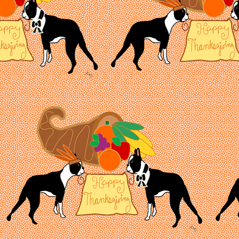 Happy Thanksgiving Boston Terrier Wishes fabric by missyq on Spoonflower - custom fabric