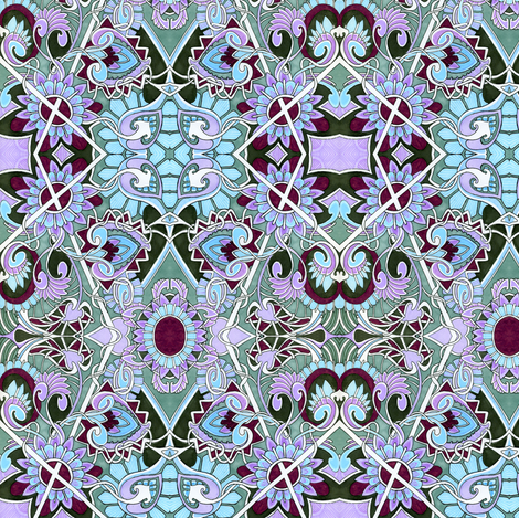 In An English Country Garden (blue/lavender) fabric by edsel2084 on Spoonflower - custom fabric