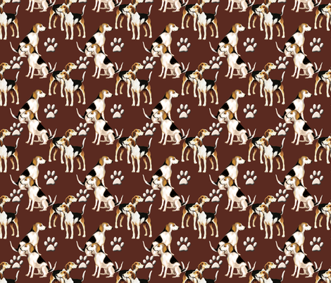 Hound dogs and paw prints fabric by dogdaze_ on Spoonflower - custom fabric