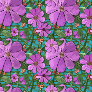 Floral Vines - purple (small print)