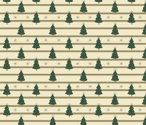 Christmas Trees - Green and Cream fabric by jannasalak on Spoonflower - custom fabric
