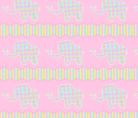 Baby Elephant Pastel Repeat fabric by jannasalak on Spoonflower - custom fabric
