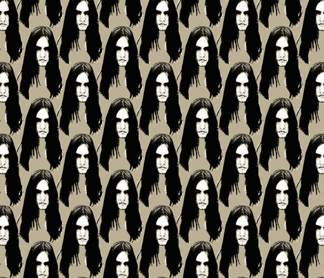 Black Metal heads 1 beige fabric by susiprint on Spoonflower - custom fabric