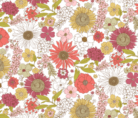 Line_Garden_Floral fabric by duckerdesigns on Spoonflower - custom fabric