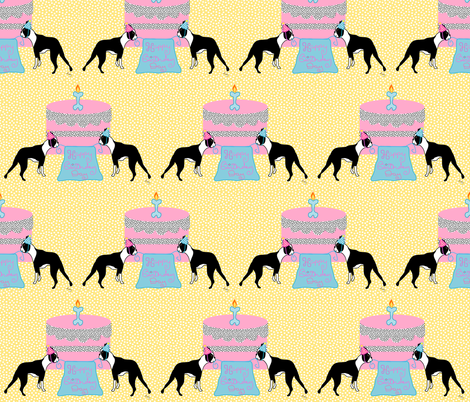 Boston Terrier Birthday Celebration fabric by missyq on Spoonflower - custom fabric