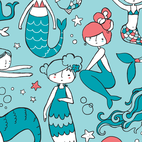 Watergirls Large Scale fabric by leanne on Spoonflower - custom fabric