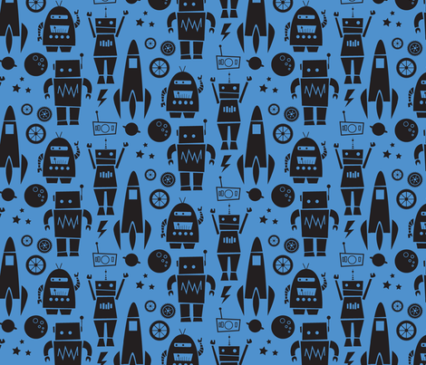 Rockets N' Robots (blue shadow) fabric by leanne on Spoonflower - custom fabric