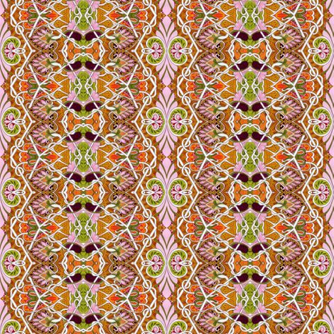 Feminine Floral Zig Zag vertical stripe fabric by edsel2084 on Spoonflower - custom fabric