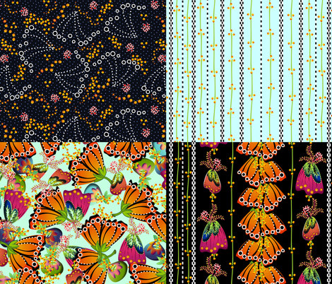Monarch Fantasy Floral 4in1 fabric by glimmericks on Spoonflower - custom fabric