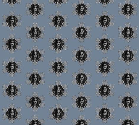 Black metal in blue on dots fabric by susiprint on Spoonflower - custom fabric