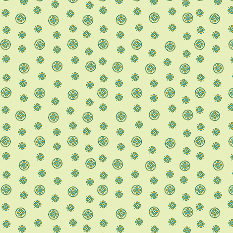 delft dots polychrome green and gold fabric by glimmericks on Spoonflower - custom fabric
