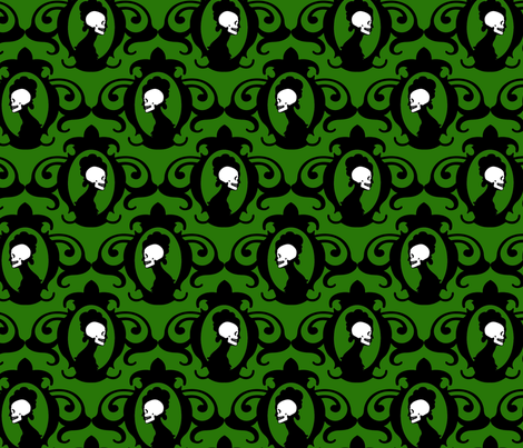 Flourish Deep Green fabric by thirdhalfstudios on Spoonflower - custom fabric